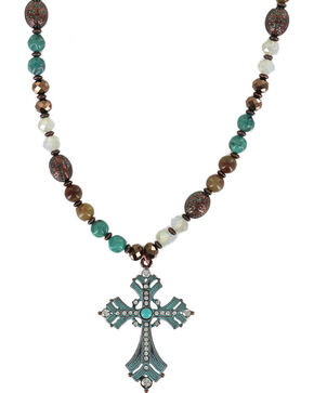 Shyanne Women's Rhinestone Cross Necklace , Turquoise, hi-res