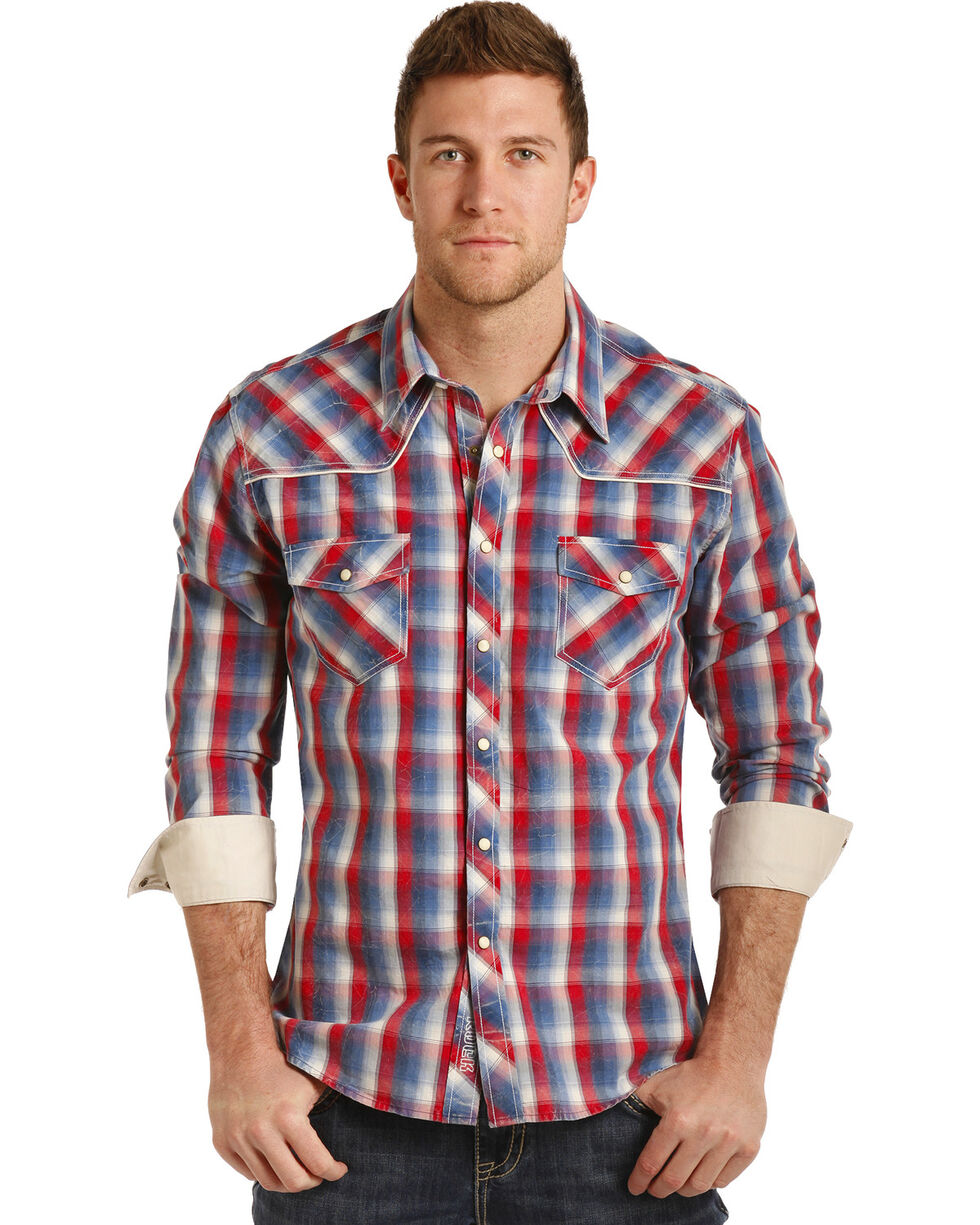 Rock & Roll Cowboy Men's Poplin Plaid Long Sleeve Snap Shirt, Red/white/blue, hi-res