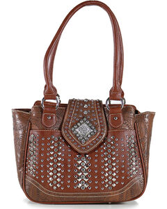 Montana West Women's Rhinestone Studded Flap Handbag, Brown, hi-res