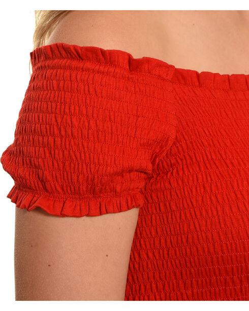 Polagram Women's Off The Shoulder Maxi Dress , Red, hi-res