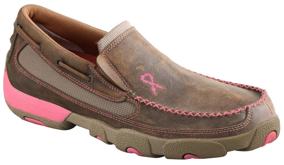 Twisted X Women's Tough Enough to Wear Pink Slip-On Driving Mocs, Tan, hi-res