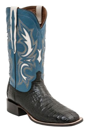 Lucchese 1883 Handmade Shiloh Caiman Belly Cowboy Boots - Square Toe, Black, hi-res
