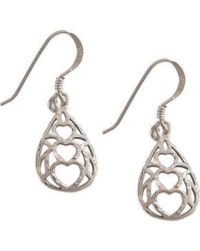 Silver Legends Women's Triple Heart Diamond Cut Dangle Earrings , Silver, hi-res