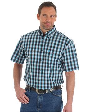 Wrangler Men's George Strait Plaid Short Sleeve Shirt - Tall, White, hi-res