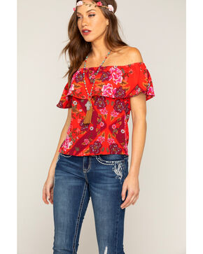 Shyanne  Women's Floral Ruffle Off The Shoulder Top, Red, hi-res