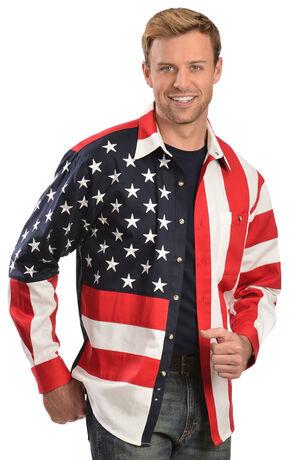 Scully Patriotic American Flag Western Shirt - Big, Multi, hi-res