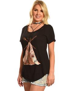 Bohemian Cowgirl Women's Teepee Short Sleeve Tee, Black, hi-res