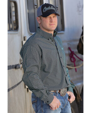 Cinch Men's Classic Fit Black Printed Plain Weave Long Sleeve Button Down Shirt, Black, hi-res