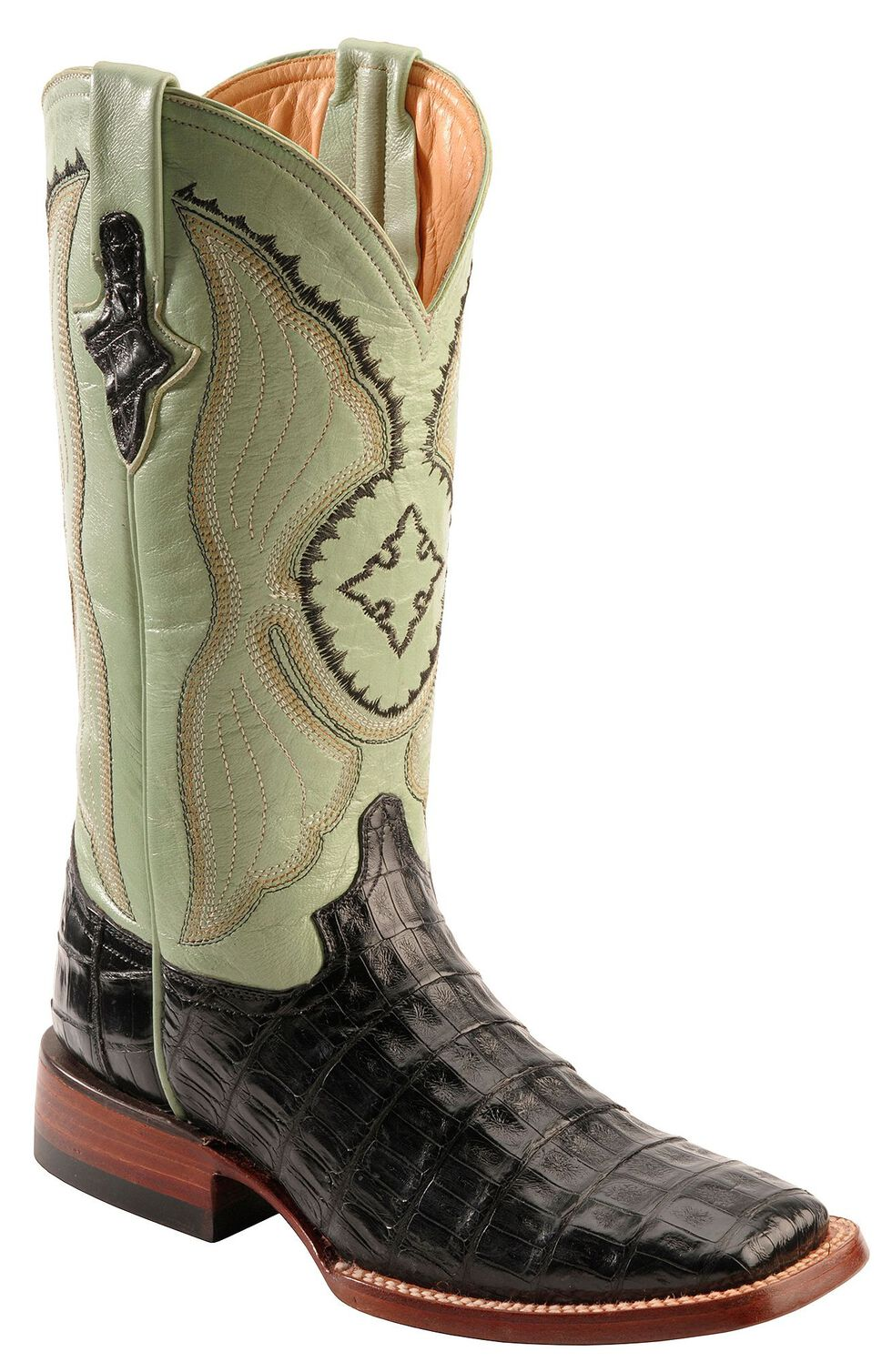 Ferrini Caiman Belly Cowgirl Boots - Wide Square Toe, Black, hi-res