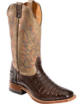 Boulet Caiman Belly Cowboy Boots - Square Toe, Chocolate, hi-res