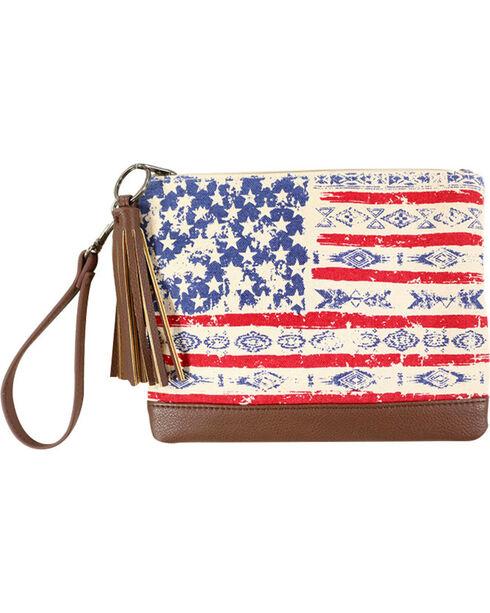 Shyanne Women's American Flag Clutch , Multi, hi-res