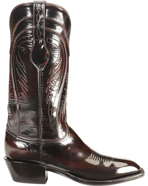 Lucchese Handcrafted Classics Seville Goatskin Boots - Square Toe, Black Cherry, hi-res