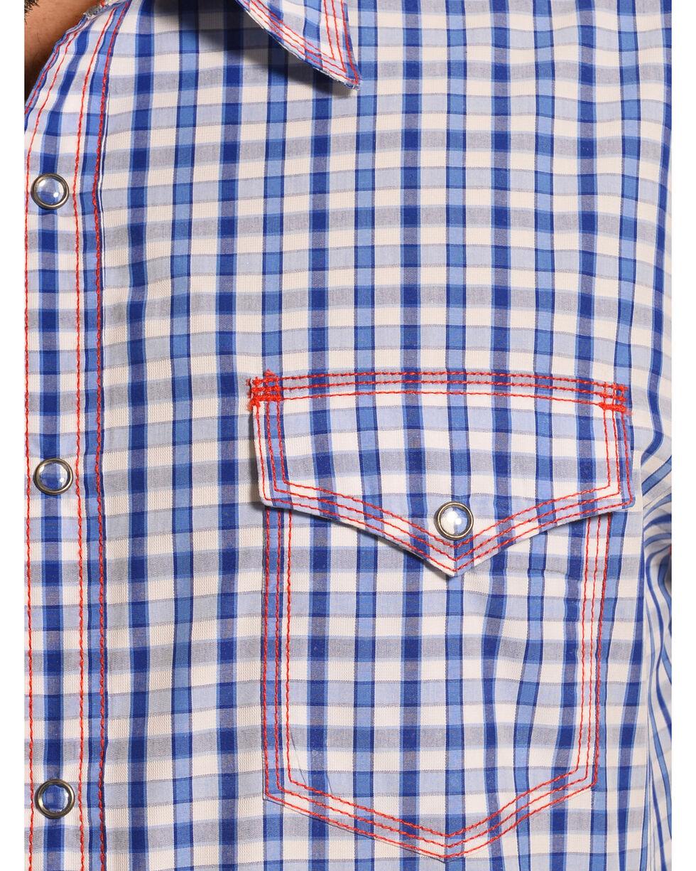 Wrangler Men's 20X Blue and White Check Western Shirt , Blue, hi-res