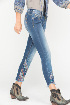 Miss Me Women's Indigo Frayed Embroidered Jeans - Ankle Skinny, Indigo, hi-res