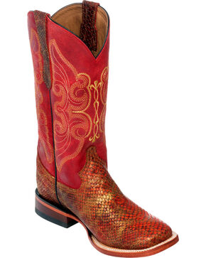 Ferrini Women's Red Snake Print Cowgirl Boots - Square Toe, Red, hi-res