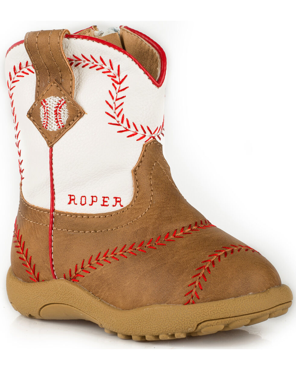 Roper Infant Boys' Cowbaby Baseball Pre-Walker Cowboy Boots, Tan, hi-res