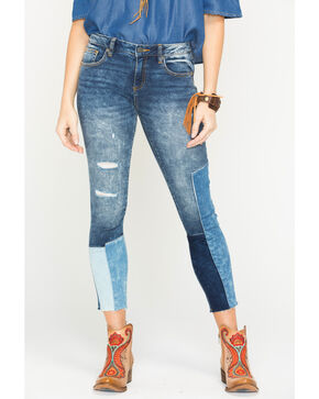 Miss Me Women's Raw Hemp Patches Ankle Jeans - Skinny , Indigo, hi-res