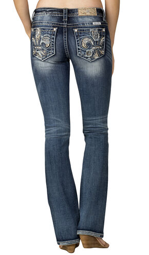 Miss Me Women's Indigo Fleur De Lis Jeans - Boot Cut, Indigo, hi-res