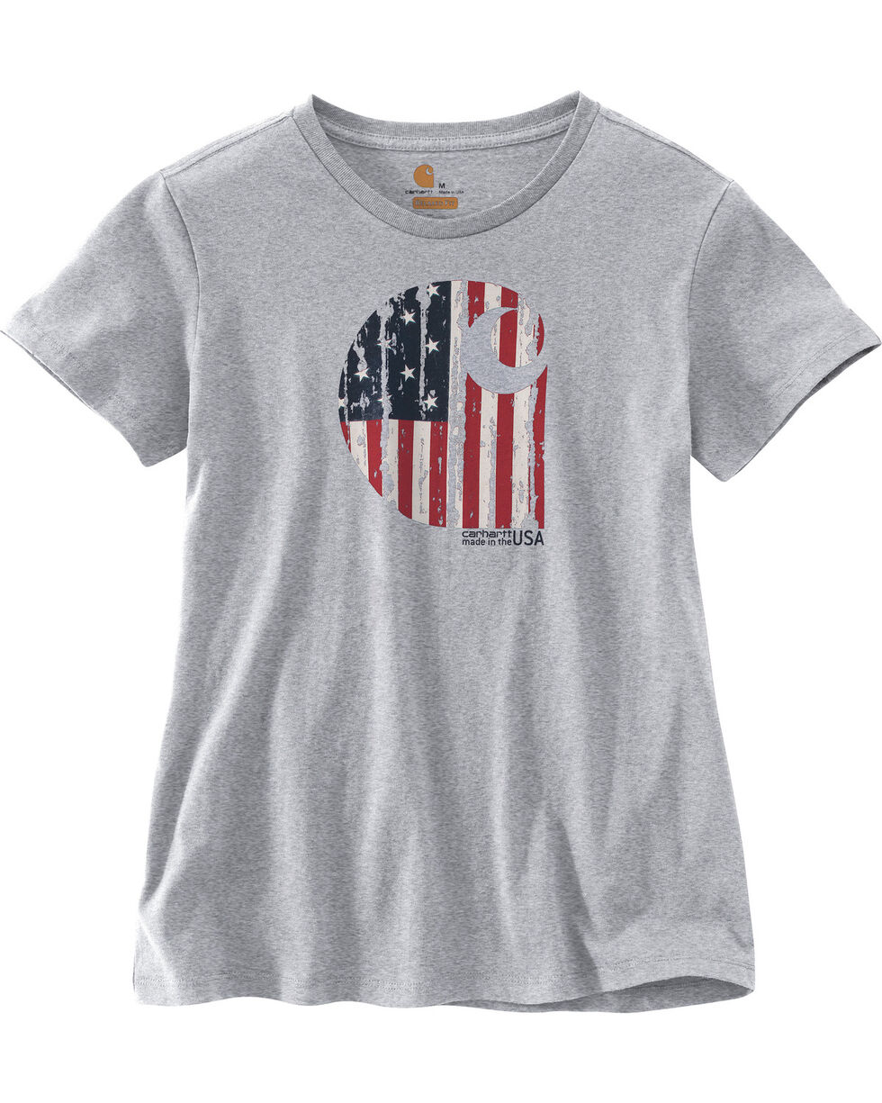 Carhartt Women's Grey Lubbock Graphic American Branded 'C' T-Shirt, Grey, hi-res