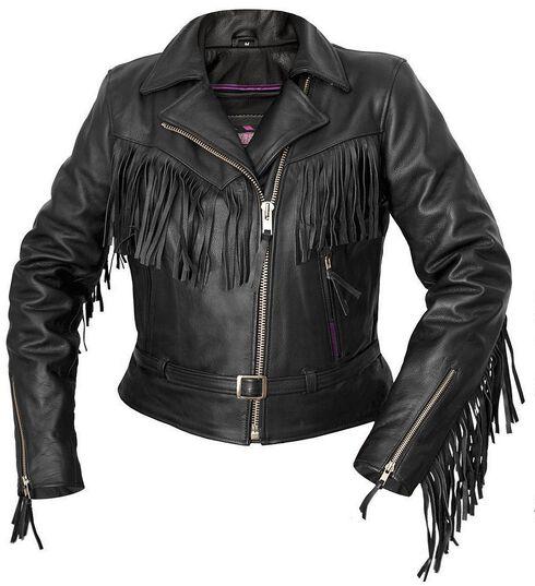 Interstate Leather Fringe Riding Jacket - Reg, Black, hi-res