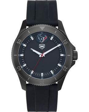 Jack Mason Men's Houston Texans Blackout Silicone Watch , Black, hi-res