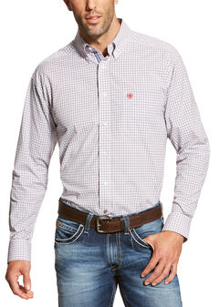 Ariat Men's White Marco Long Sleeve Shirt - Big and Tall , White, hi-res
