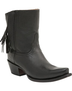 Lucchese Handcrafted 1883 Women's Flannery Fringe Zipper Boots - Snip Toe, , hi-res