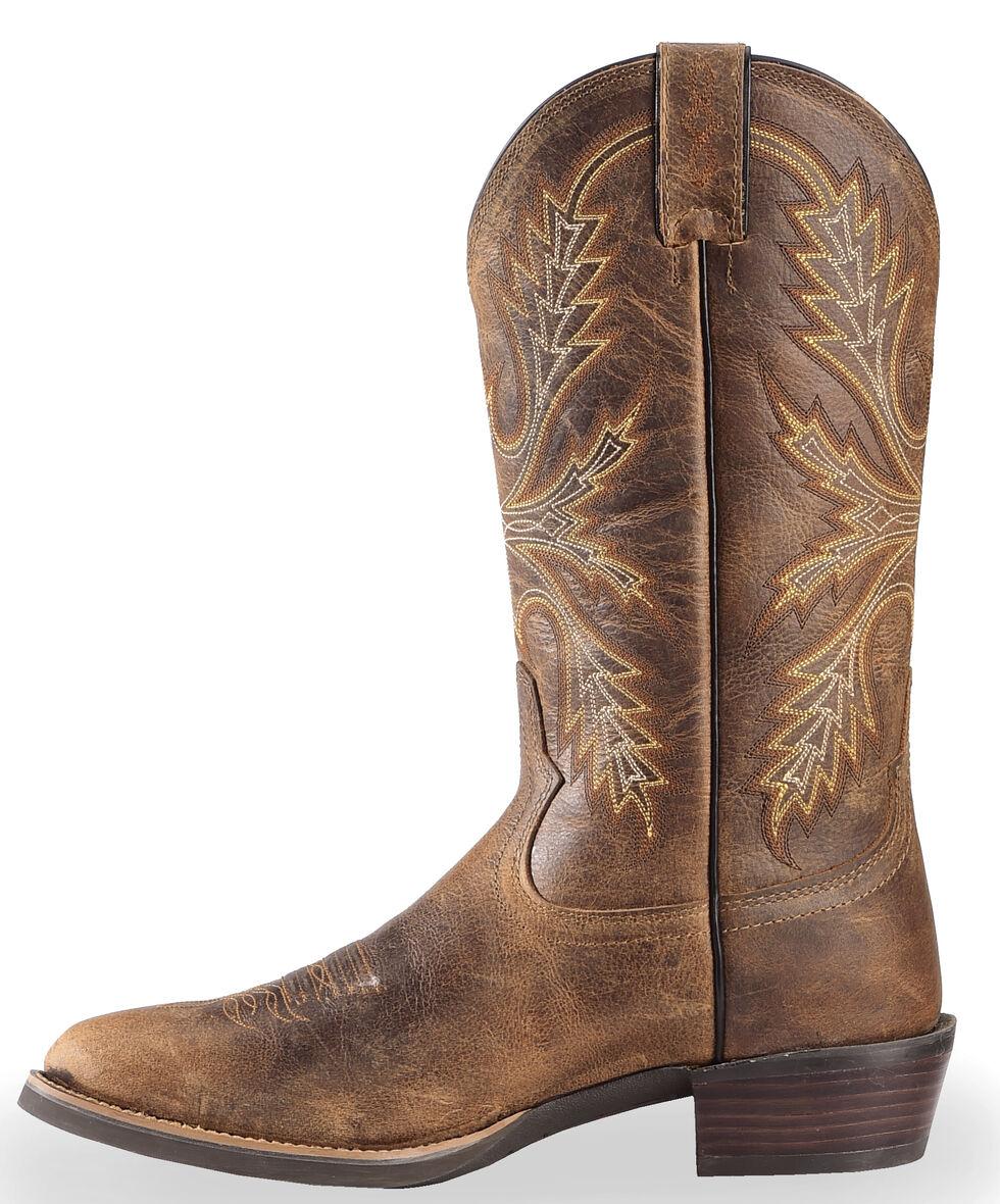 Justin Silver Buffalo Cowboy Boots - Round Toe, Antique Brown, hi-res