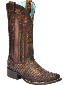 Corral Women's Exotic Lizard Woven Cowgirl Boots - Square Toe, Tan, hi-res