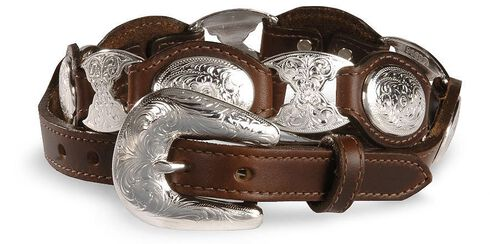 Tony Lama Concho Link Leather Belt, Brown, hi-res