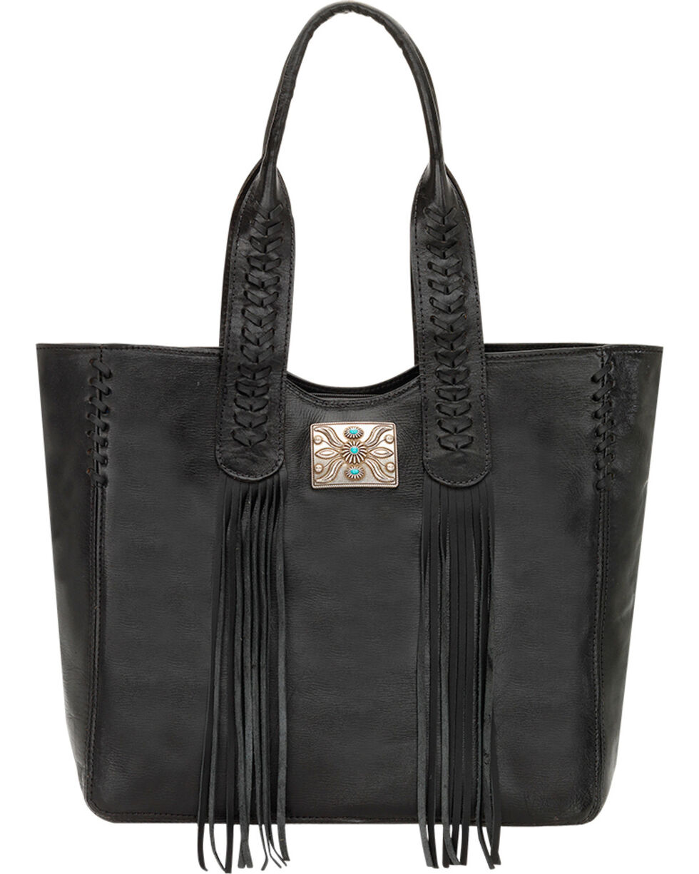 American West Black Mojave Canyon Large Zip Top Tote , Black, hi-res