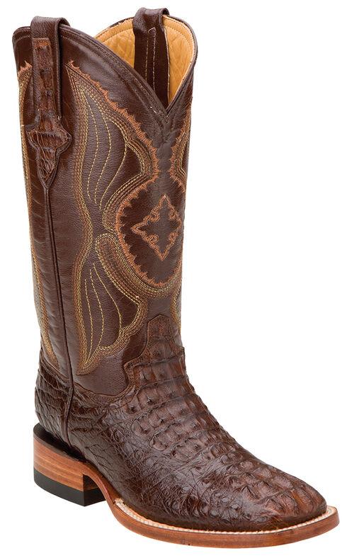 Ferrini Hornback Caiman Cowgirl Boots - Square Toe, Rust, hi-res