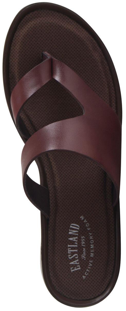 Eastland Women's Brown Laurel Wedge Thong Sandals, Chili, hi-res