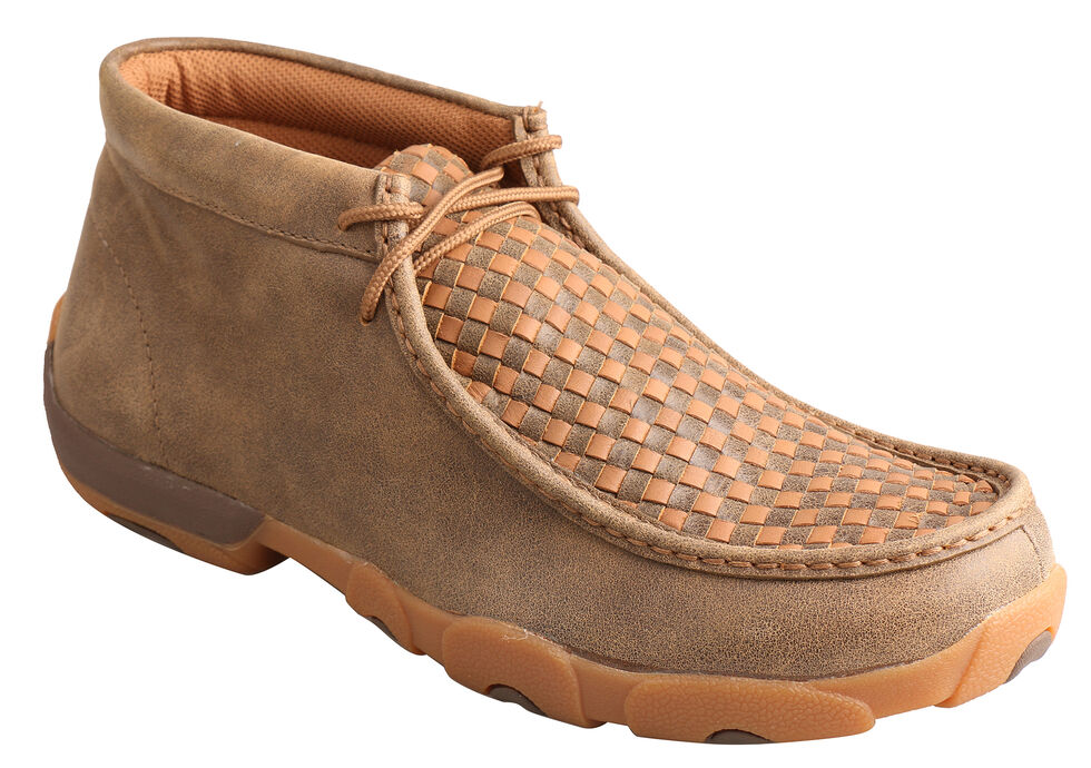 Twisted X Men's Brown and Tan Checkerboard Driving Mocs, Bomber, hi-res