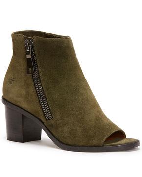 Frye Women's Forest Brielle Zip Peep Booties - Round Toe , Dark Green, hi-res