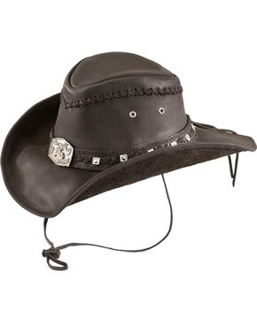 Bullhide Thunderstruck Leather Cowboy Hat, Black, hi-res