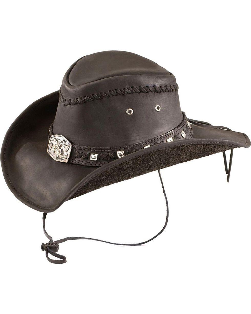Bullhide Thunderstruck Leather Cowboy Hat, Black, hi-res