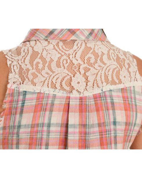 Miss Me Women's Plaid & Floral Sleeveless Button-Down Shirt, Pink, hi-res