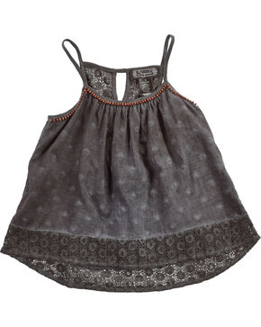 Shyanne Girls' Lace Woven Flowing Tank Top, Charcoal, hi-res