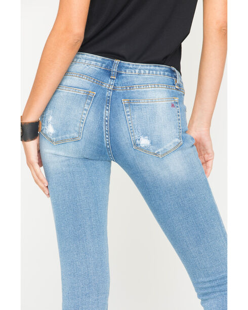 MM Vintage Women's Destroyed and Patched Jeans - Skinny , Indigo, hi-res
