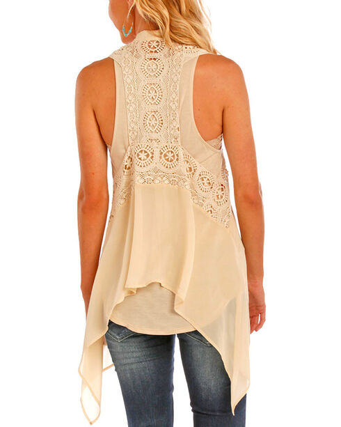 Rock & Roll Cowgirl Women's Tan Crochet and Lace Vest , Tan, hi-res