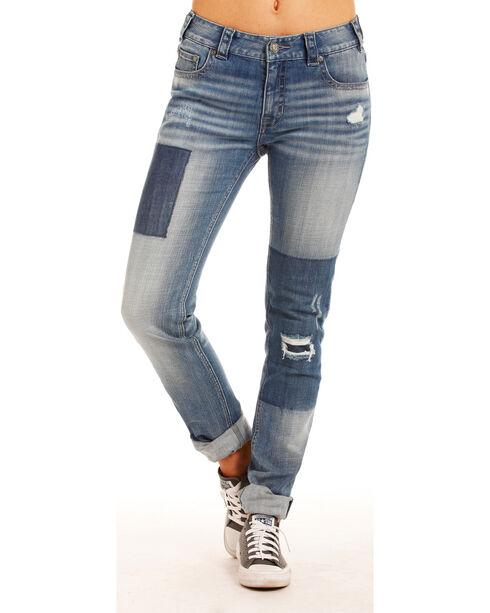 Rock & Roll Cowgirl Women's Indigo Basic Pocket Boyfriend Jeans - Skinny Leg , Indigo, hi-res