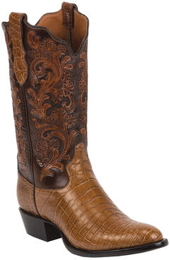 Tony Lama Brandy Hand-Tooled Signature Series Nile Crocodile Western Boots - Round Toe , , hi-res