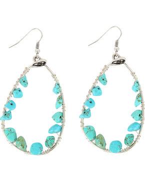 Shyanne Women's Turquoise Bead Teardrop Hoop Earrings, Turquoise, hi-res