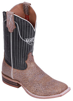 Hooey by Twisted X Black Pinstripe Cowboy Boots - Wide Square Toe, , hi-res