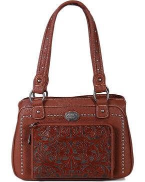 Montana West Women's Built-in Wallet Tooled Messenger Bag , Brown, hi-res