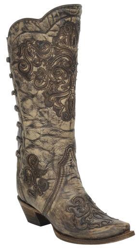 Corral Brown Scroll Inlay Backstrap Boots - Snip Toe , Grey, hi-res