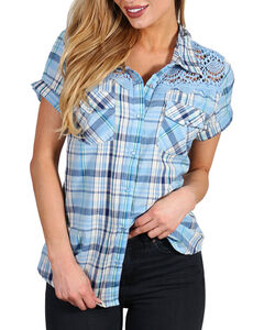 Henna Women's Blue Plaid Crochet Western Shirt, Blue, hi-res