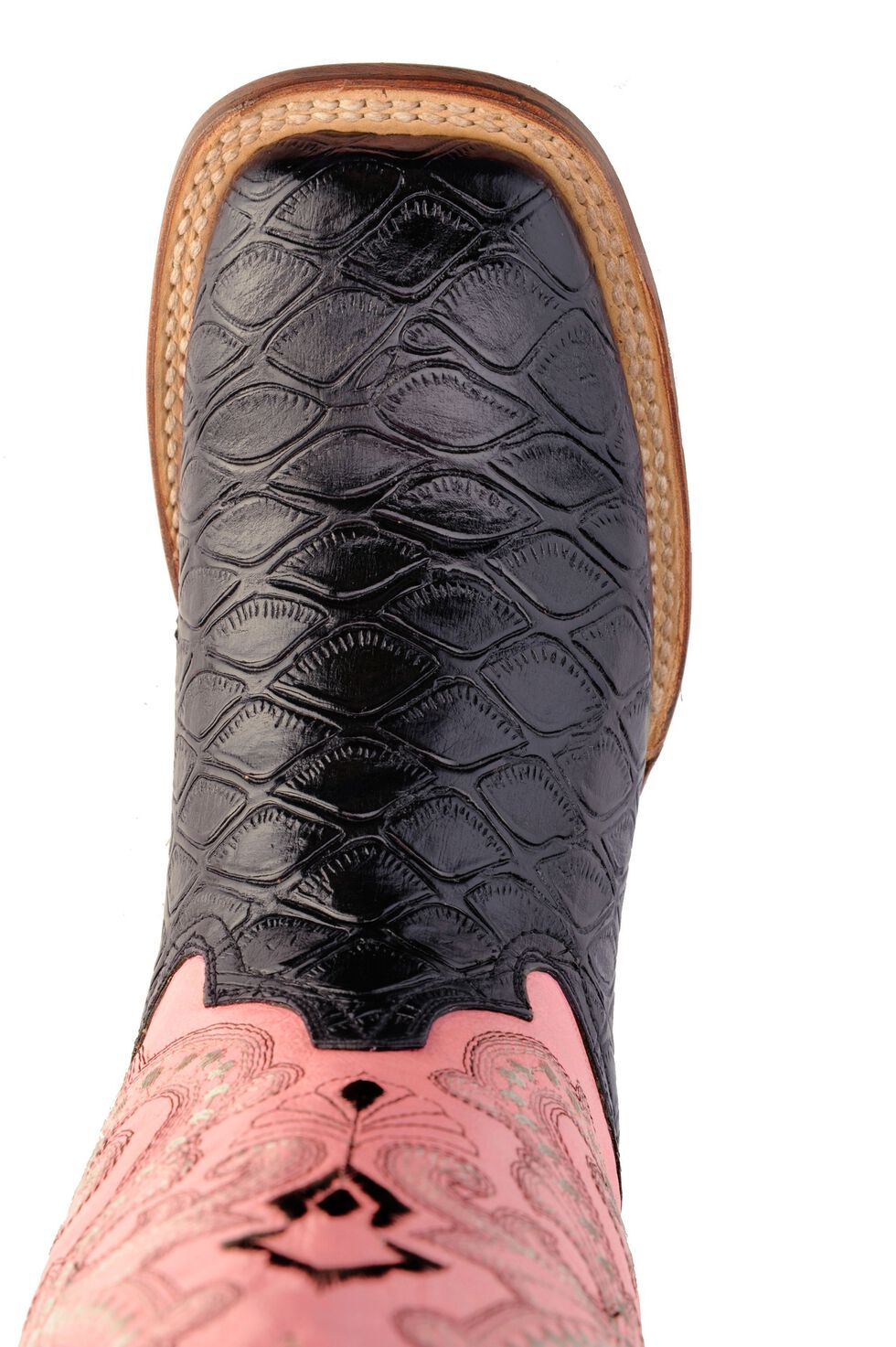Ferrini Blush Pink Anteater Print Cowgirl Boots - Wide Square Toe, Black, hi-res