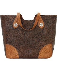 American West Annie's Secret Collection Brown Large Zip Top Tote, Brown, hi-res